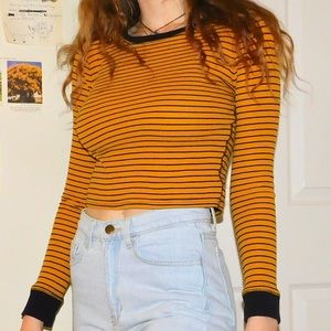 Forever 21 Striped Cropped Longsleeve